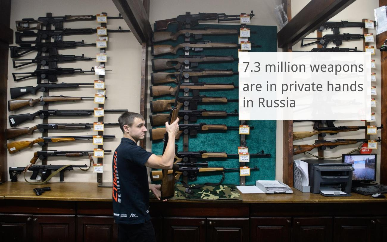 More than 4.5 million people in Russia have permission to own firearms with over seven million weapons currently in private hands, the first deputy commander of Russia's National Guard, Colonel-General Sergey Melikov, told TASS on March 31.Civilian firearms make up the large majority of the total at around seven million, while roughly 150,000 combat rifle weapons, 95,000 service weapons, and 3,000 cold steel weapons are owned by the public.However, the figure still pales in comparison to the 270 to 310 million firearms in the hands of Americans. According to a poll conducted by Gallup in 2015, 35 to 42 percent of U.S. households have at least one gun.Read more:Now Kalashnikov is gunning for the Russian fashion market