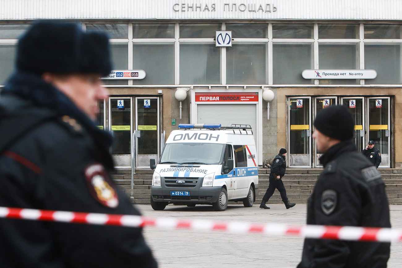 Law enforcement officers near Sennaya Ploshchad station of the St Petersburg metro in the aftermath of an explosion, which occurred in a train on April 3.