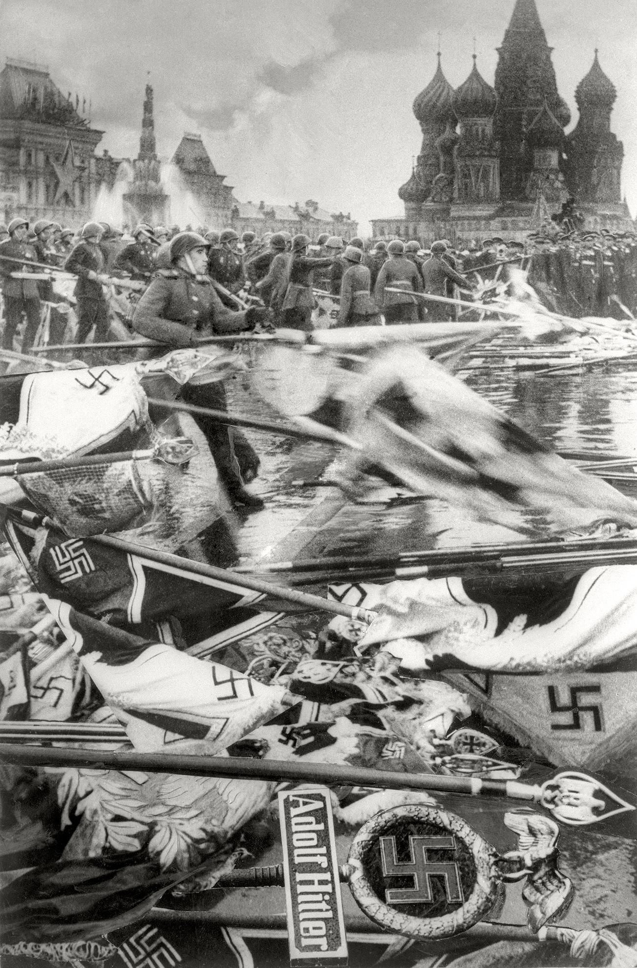 Les soldats jettent les bannières nazies, Parade de la Victoire, Moscou, 24 juin 1945. Crédit: Musée d'art multimédia de Moscou