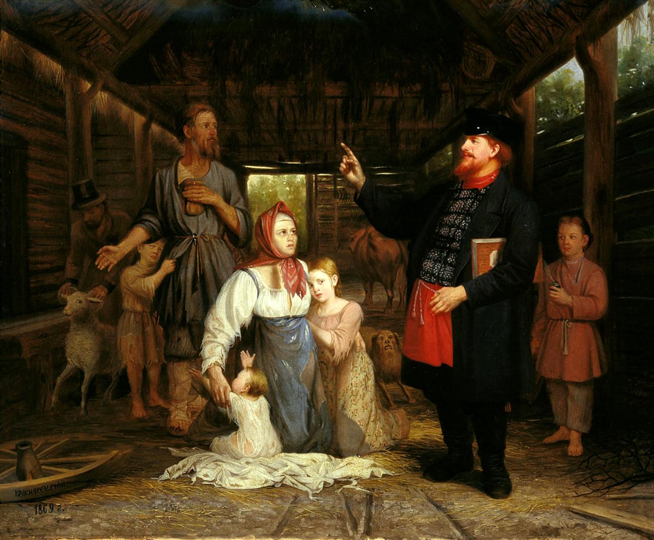 """Красносељски Александар Андреевич """"Наплата на долгови"""". 1869. Масло на платно / Вољски месен музеј"""