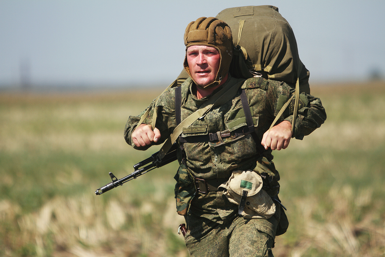 A Russian paratrooper during the joint battalion tactical exercise of airborne troops from Russia, Belarus and Serbia at Rayevsky base outside Novorossiysk.