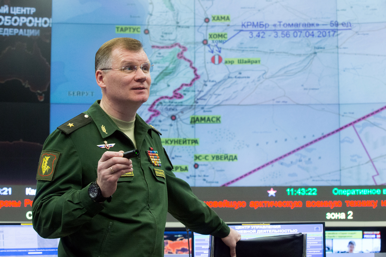 Russian Defense Ministry spokesperson Major General Igor Konashenkov said the American ships destroyed key Syrian Air Force infrastructure.