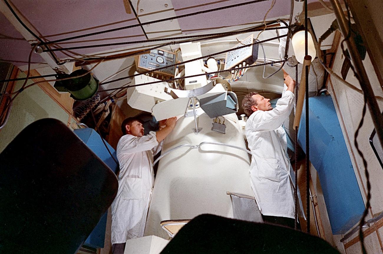 宇宙ステーションサリュート1号。1971年4月19日に打ち上げられた。=ロシア通信