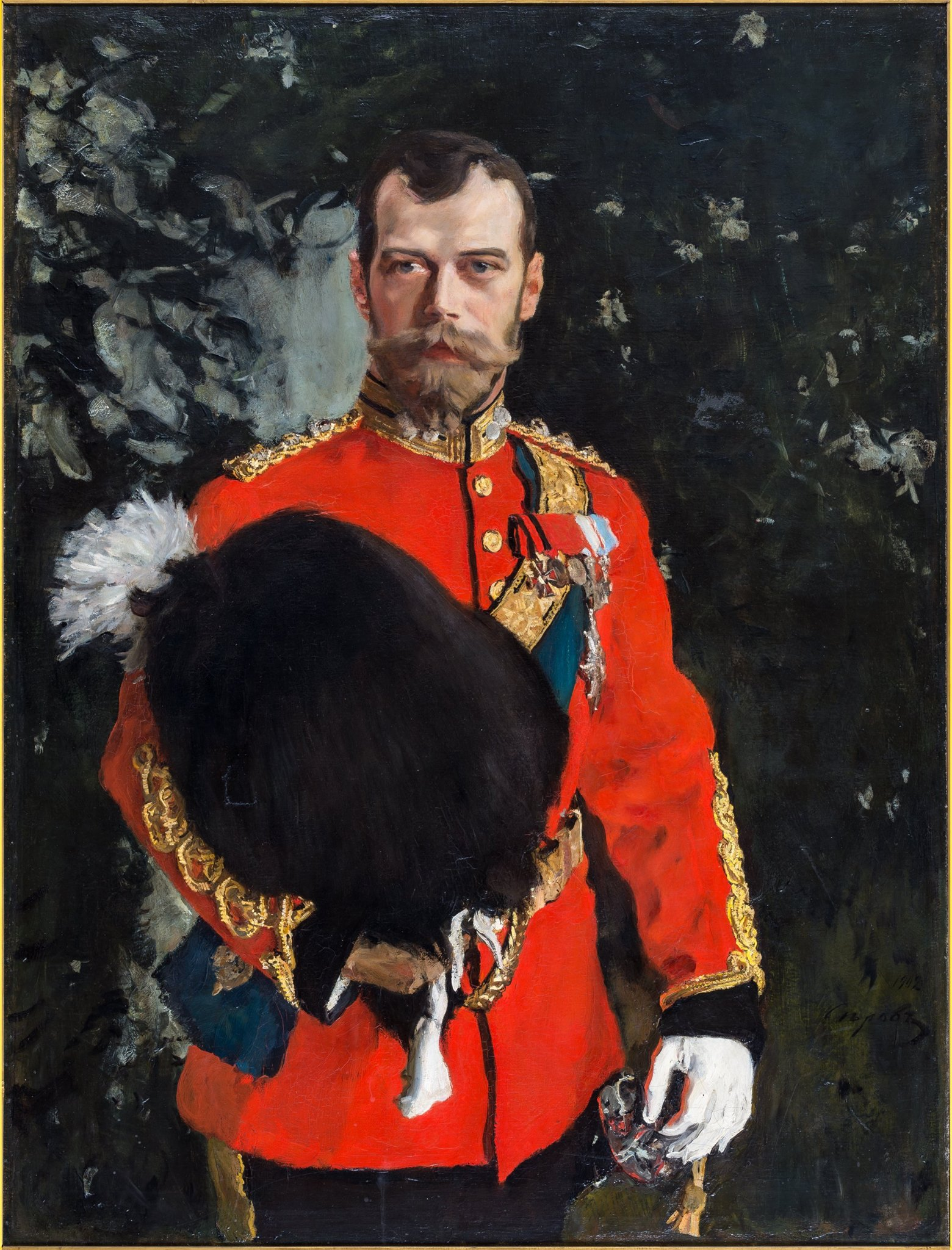 The famous Russian painter Valentin Serov portrayed the Russian tsar wearing his red Royal Scots Greys Colonel-in-Chief uniform. The portrait is now displayed as one of the highlights of the regiment's museum in Edinburgh. To this day Tsar Nicholas II is commemorated by the Royal Scots Dragoon Guards (which the Royal Scots Greys became in 1971), by the playing of the Russian Imperial anthem at certain mess functions. https://www.scotsdgmuseum.com/treasures/ // Valentin Serov. His Imperial Majesty Tsar Nicholas II of Russia, as Colonel-in-Chief, 2nd Dragoons (The Royal Scots Greys). The painting is held in The Royal Scots Dragoon Guards Regimental Museum.