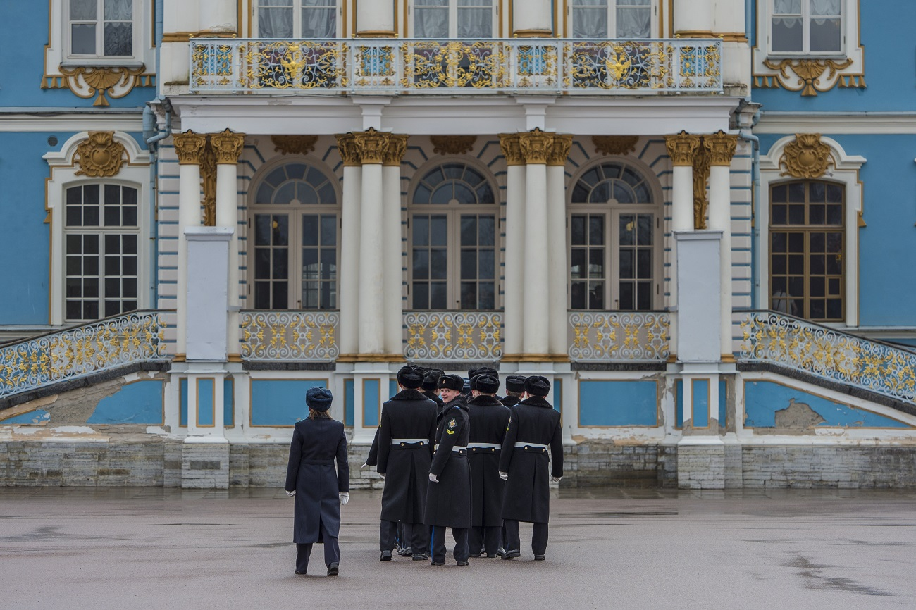 St. Petersburg guards waiting for the big guests in Tsarskoye Selo.