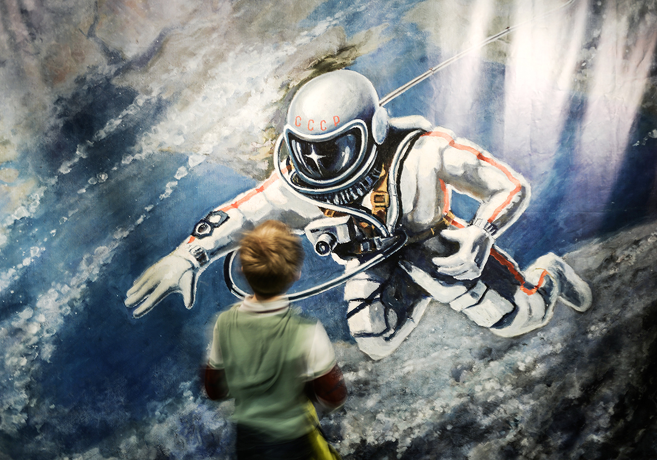 A young visitor at the Moscow Memorial Museum of Cosmonautics during the events devoted to the 50th anniversary of the man's fist spacewalk.