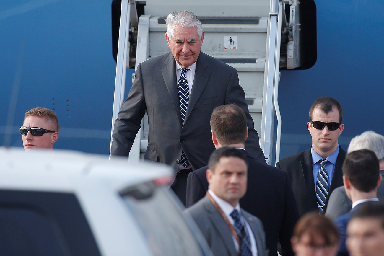 U.S. Secretary of State Rex Tillerson disembarks from a plane upon his arrival at Vnukovo International Airport in Moscow, Russia April 11, 2017.