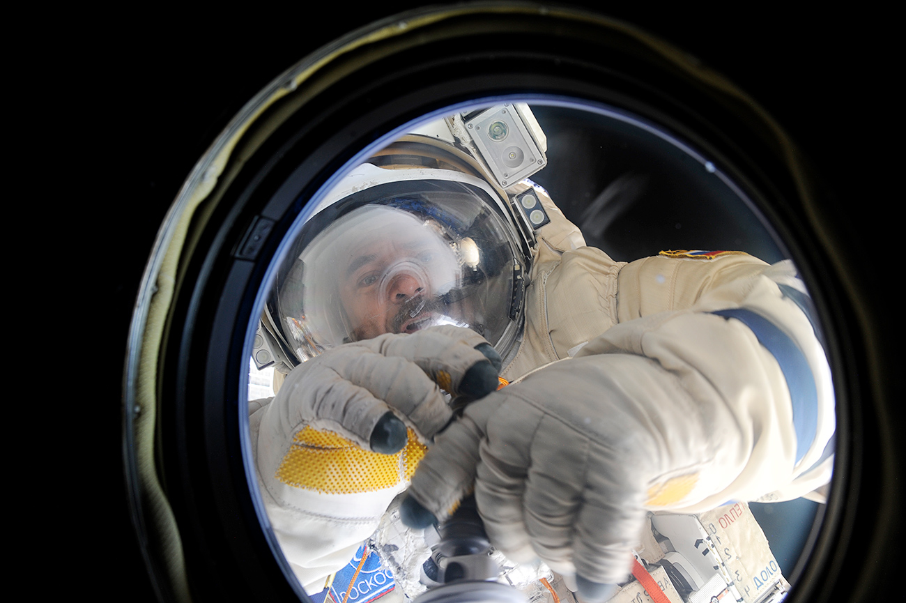 Roscosmos cosmonaut Mikhail Kornienko during the spacewalk.
