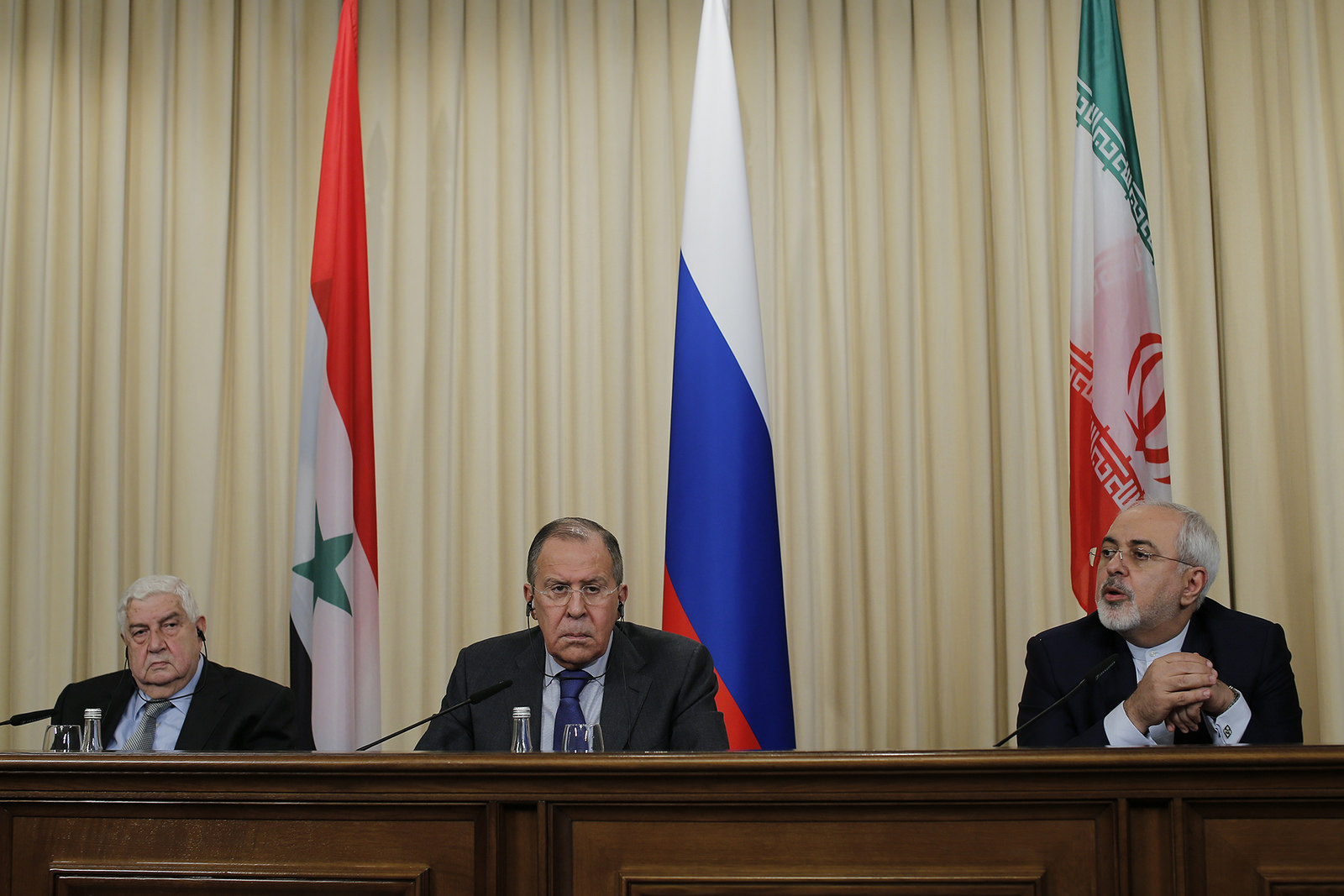 Press conference following the meeting by Sergey Lavrov with Mohammad Javad Zarif and Walid Muallem, Moscow, April 14, 2017.