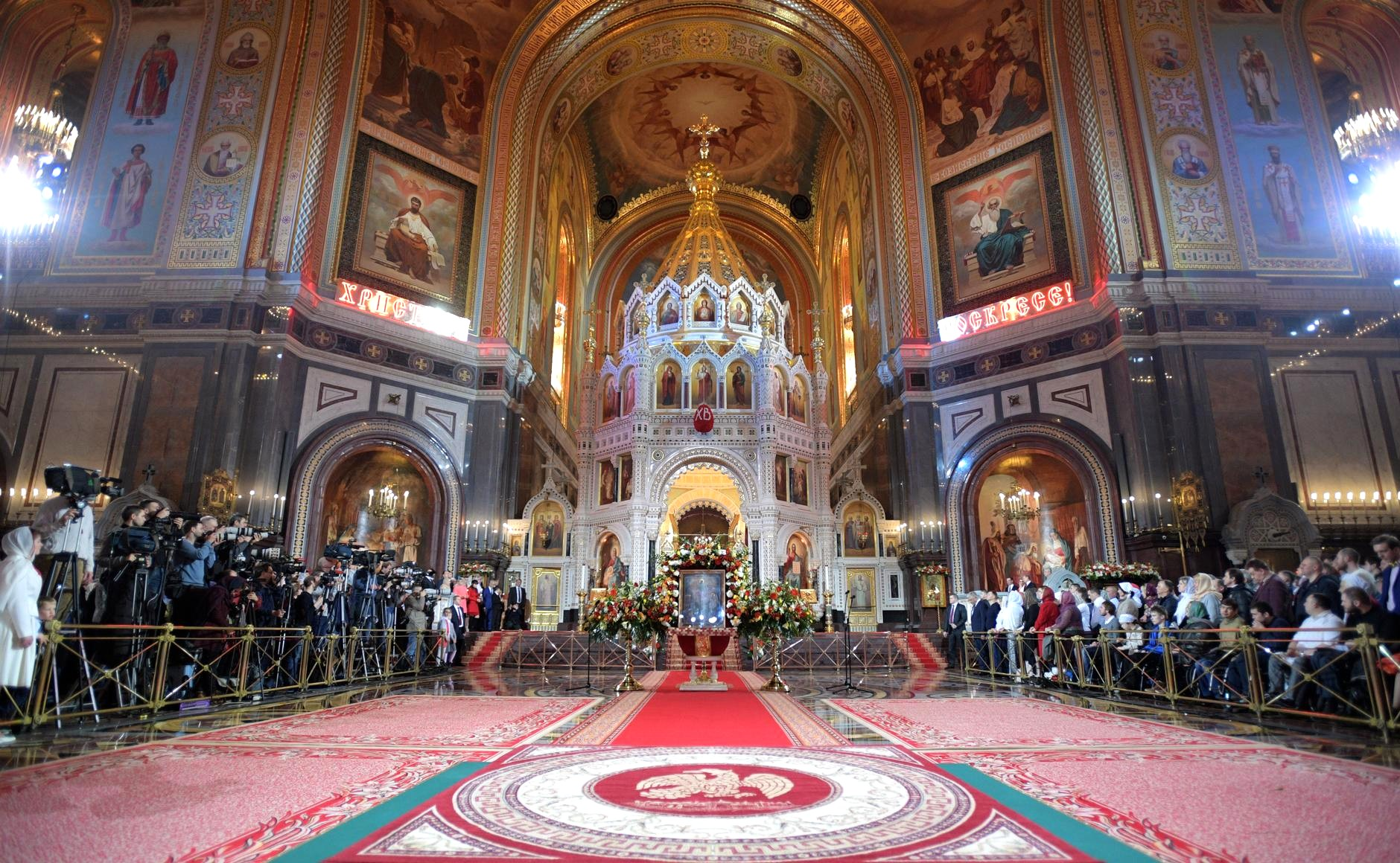 In Russia, the Easter celebration centered around Moscow's Christ the Savior Cathedral.