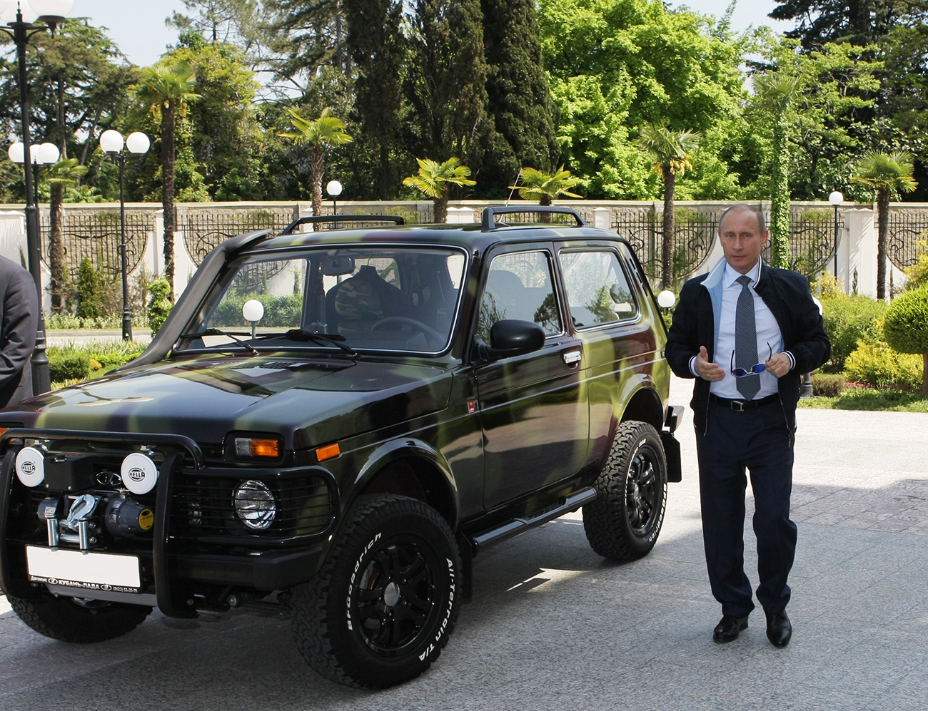 Vladimir Putin, Russian Prime Minister at the time of the photo, in the state residence Riviera 6 in Sochi. There he showed journalists his Niva off-roadster, the car Putin, now serving as Russia's President, still owns.