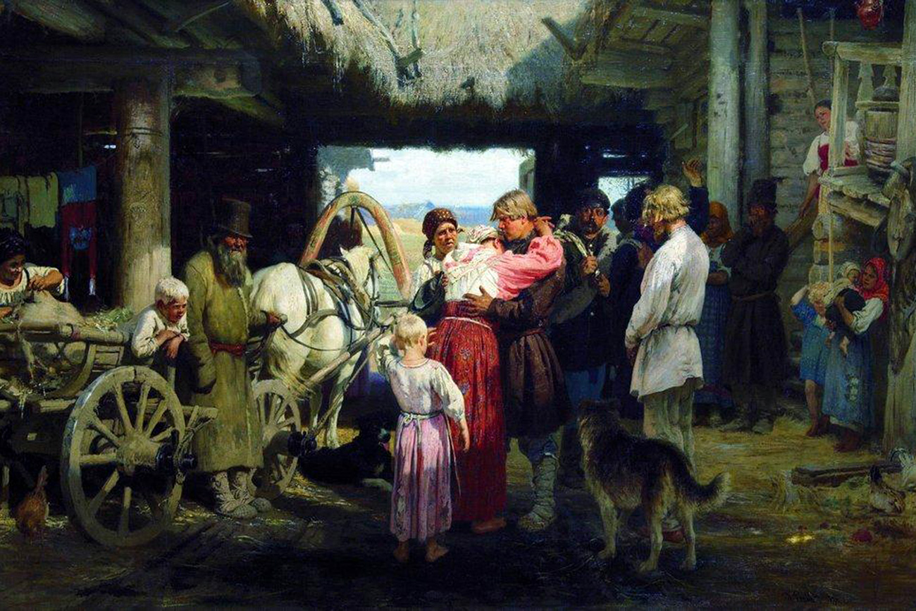 Проводы новобранца (рекрут); Художник И. Репин (1879).