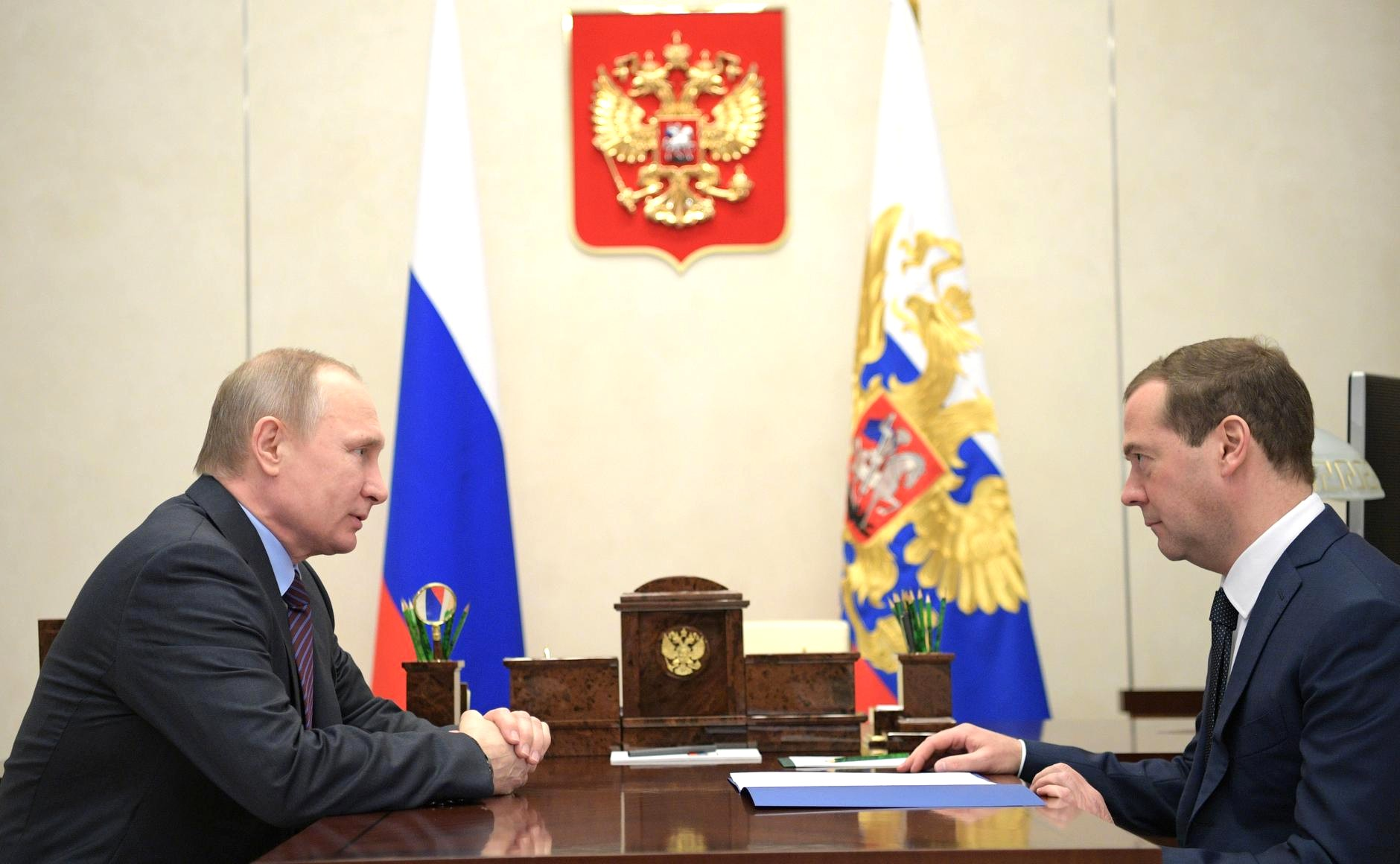 Prime Minister Dmitry Medvedev at the meeting with President Vladimir Putin.