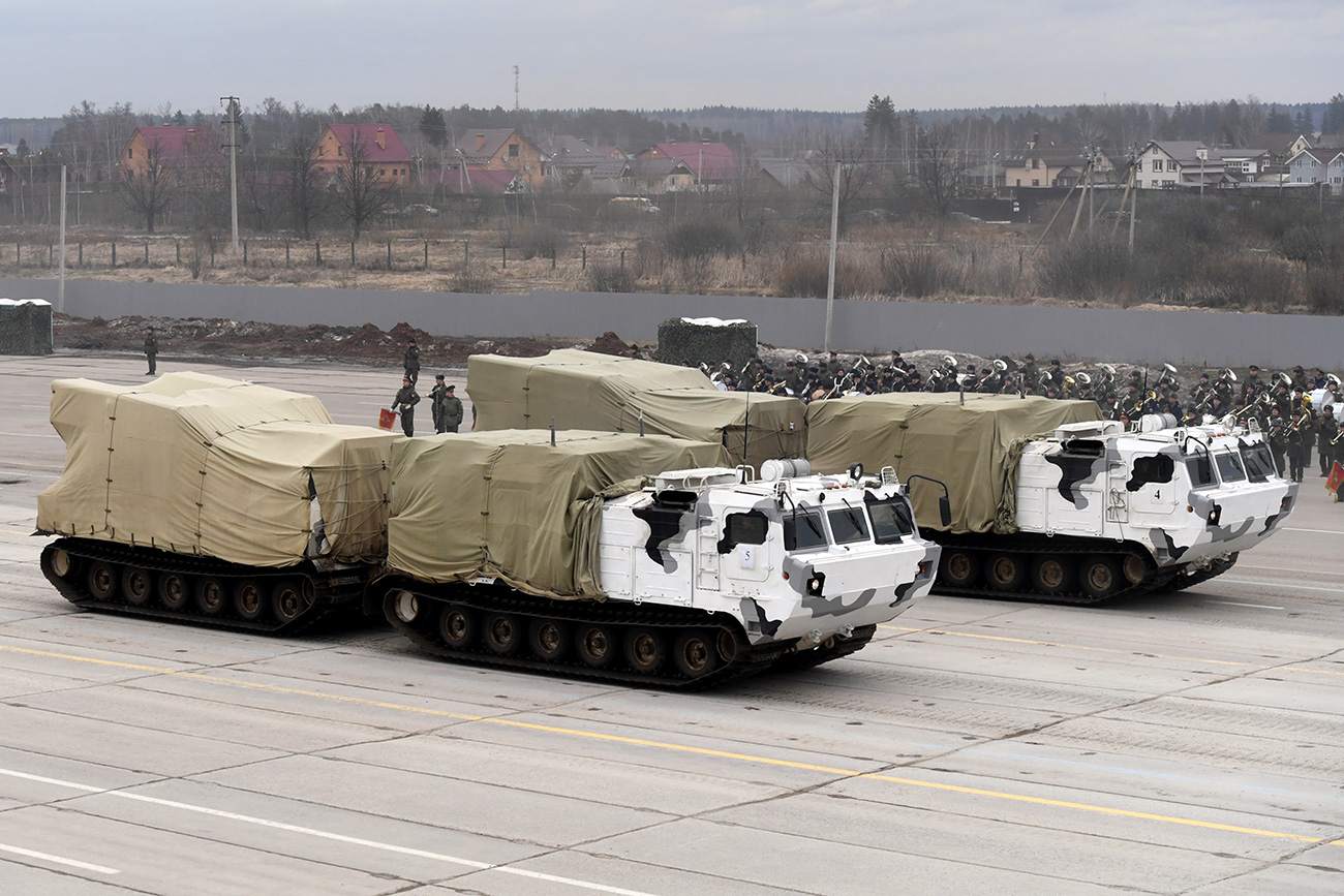 Pantsyr-SA (Arctic), an air defense missile-gun system, seen at the Victory Day joint training drills of a combined parade unit, mechanized column and lineup of aircraft.