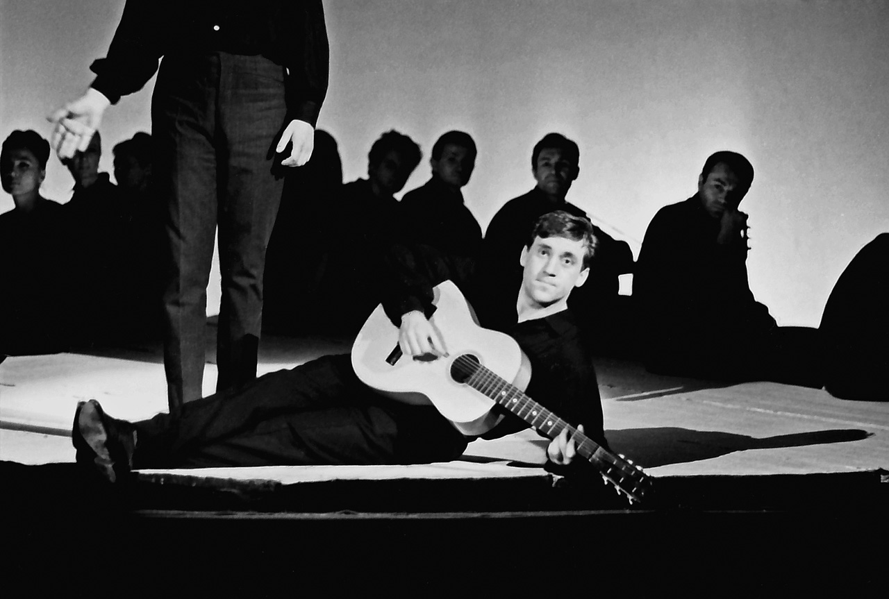 "Vladimir Vysotsky. Scene from the play ""Anti-worlds."" Taganka Theater, Moscow. 1966.    His more than half-century long artistic career is associated with one publication—the newspaper Izvestia (the Kremlin's official mouthpiece in Soviet times; independent since 1991)."