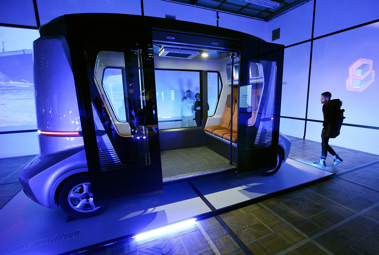 The first self-driving passenger bus resembles a funicular cabin and is combined with advanced intelligence technology. Source: Kirill Zykov/Moskva Agency