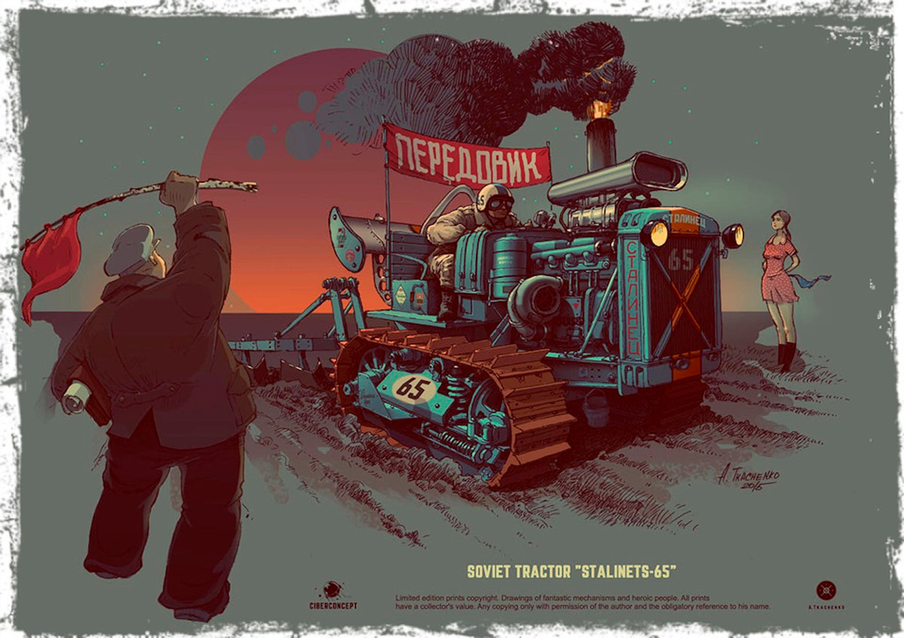 "This picture sparks the imagination. The original tractor in this custom work is called the ""Stalinets-65"" (the name derives from Stalin); there is a beautiful girl, the red communist flag and a gorgeous sunset in the background; and the machine seems to be turning up the soil for the coming harvest. The name ""Peredovik"" (leading worker), along with the tunnel-vision driver and plumes of thick smoke, add daredevil spirit!"