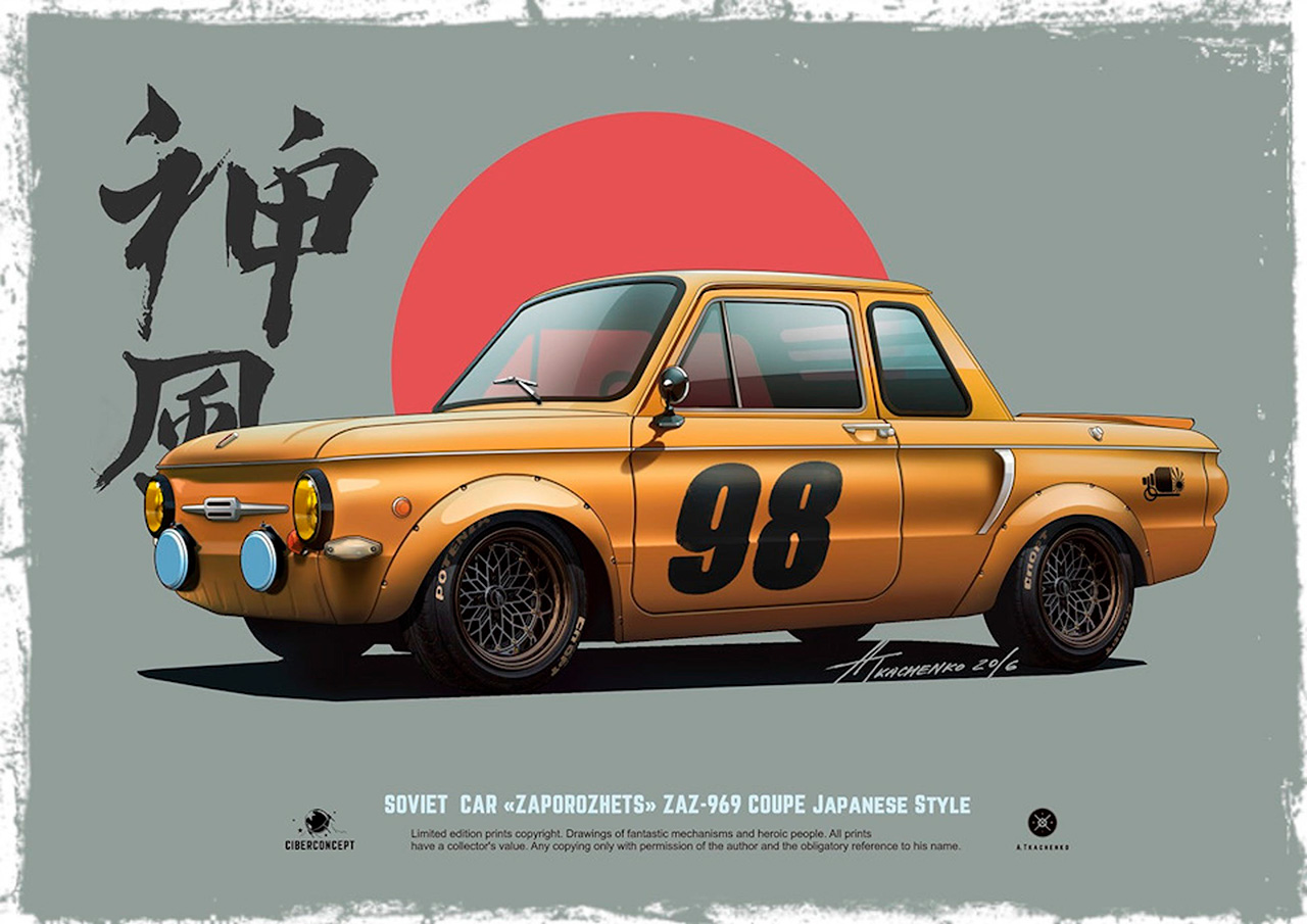 "The one and only genuinely hip Soviet car, the ZAZ-969 ""Zaporozhets"", is transformed here into an awesome Japan-inspired coupe. There were different kinds of ""Zaporozhets"" cars in the USSR: ""ushastyi"" (jug-eared), ""gorbatyi"" (humpbacked) — but no coupes, that's for sure."