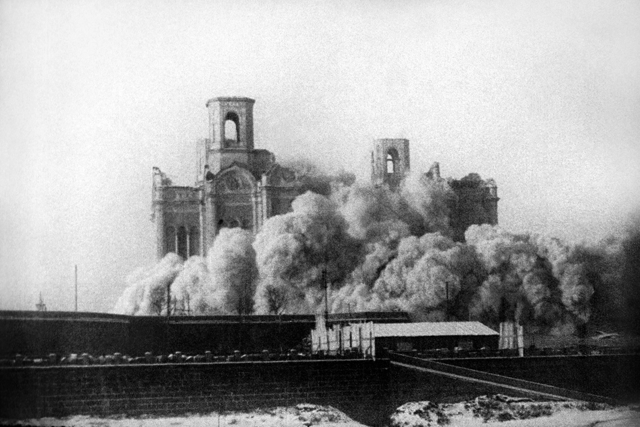The Russian Orthodox Church was safe from a Bolshevik onslaught in Korea. Pictured above is the destruction of the Cathedral of Christ the Savior in Moscow in 1931.