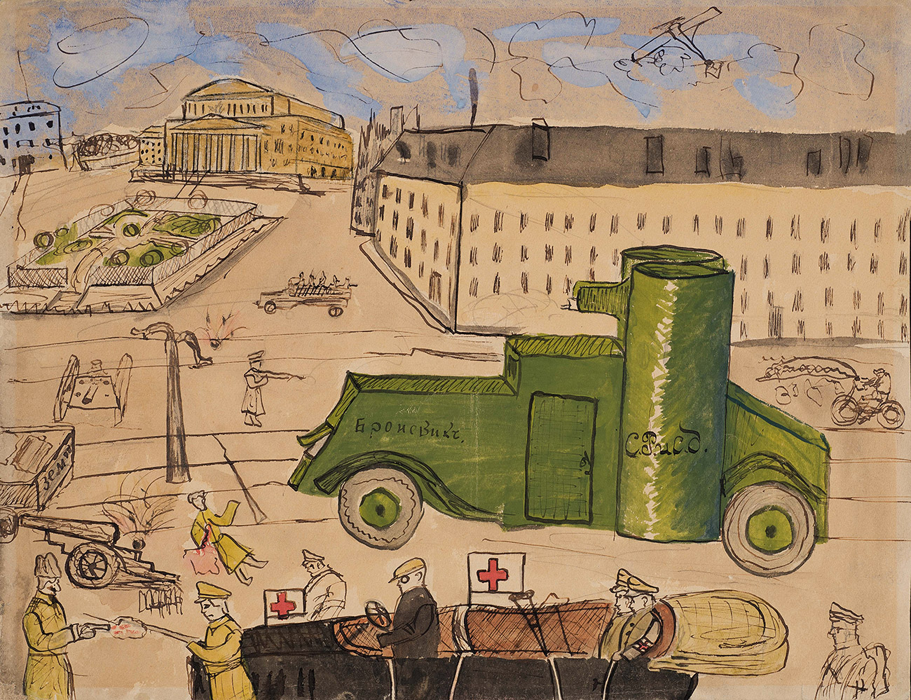 "This collection of than 150 drawings was given to the Moscow Historical Museum in 1919 by the scholar Vasily Voronov. // ""Battle of Teatralny Square"", Moscow, October-November 1917"