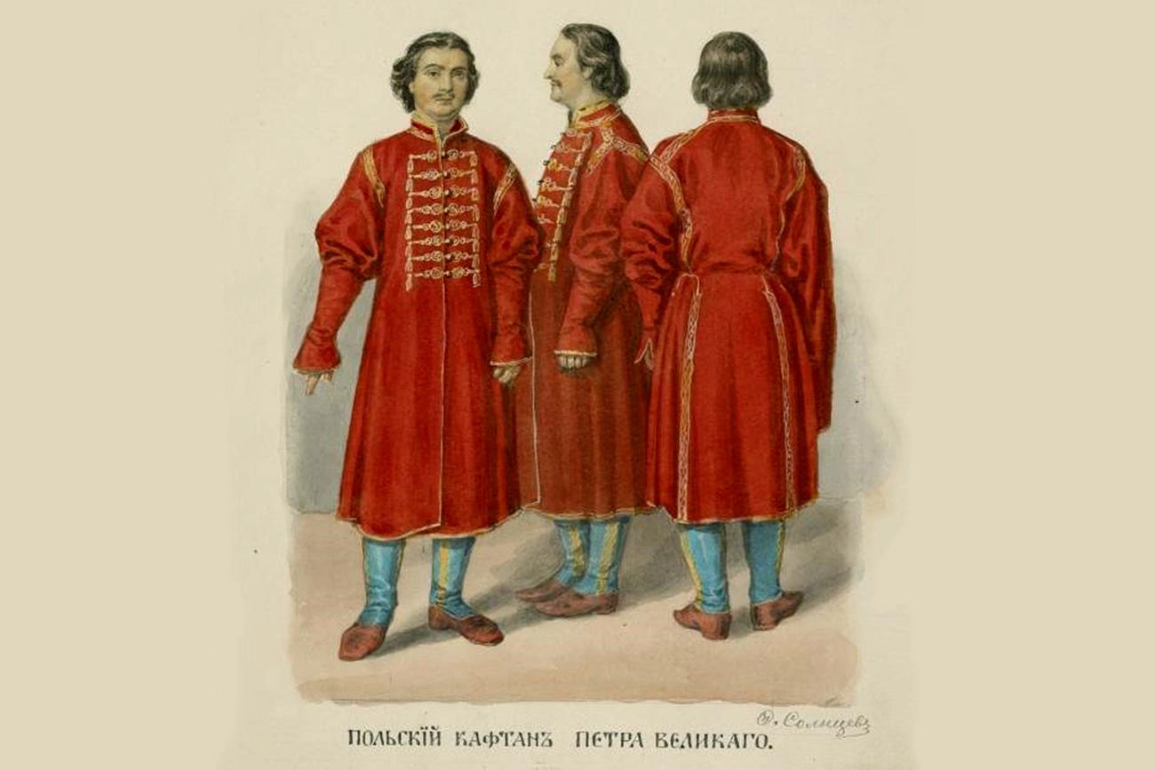 Polnischer Mantel von Peter dem Großen / Aquarell von F. Solnzewa/Archivbild