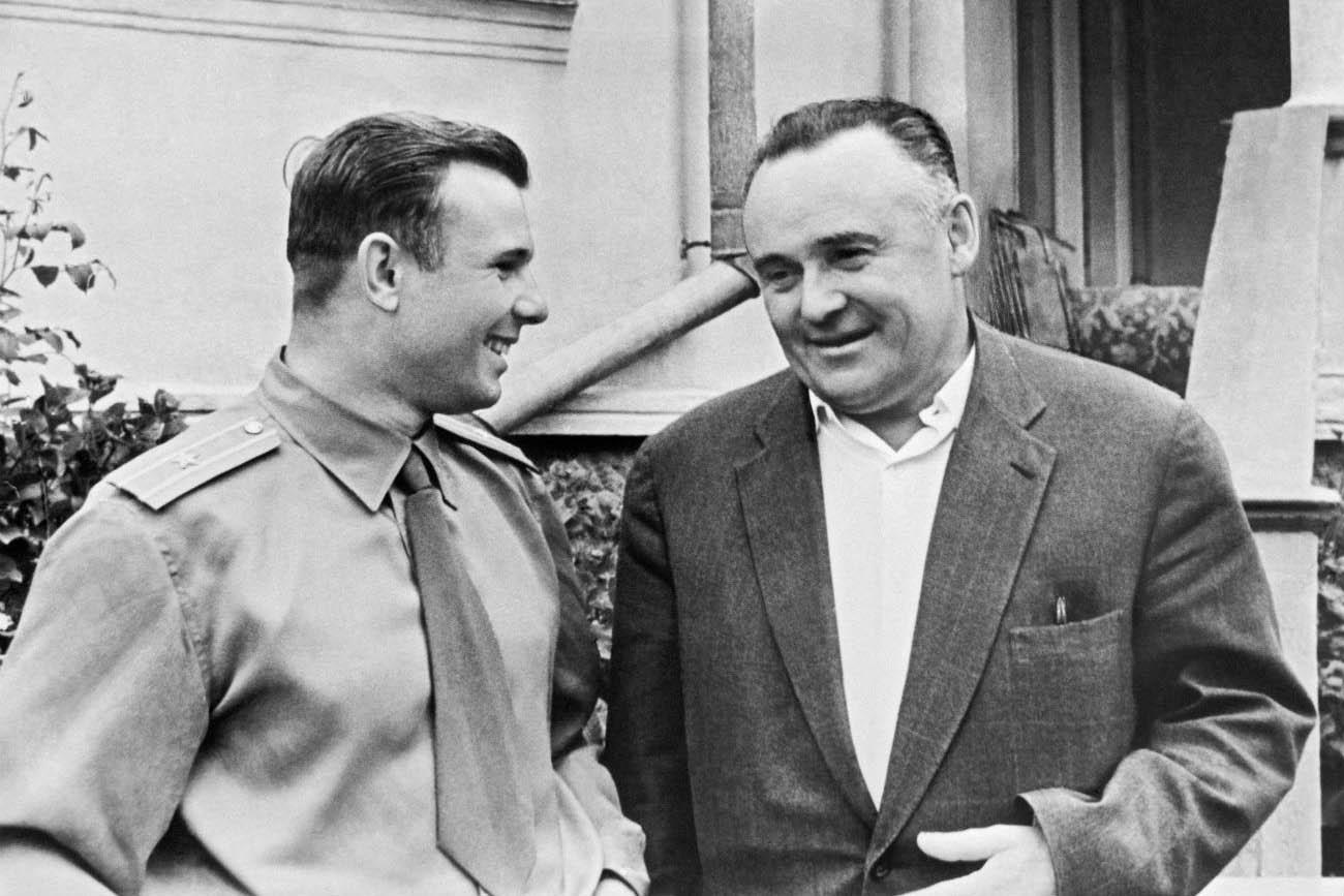 Hero of the Soviet Union Yuri Gagarin (L) and Academician Sergei Korolev, on Feb. 5 1961.