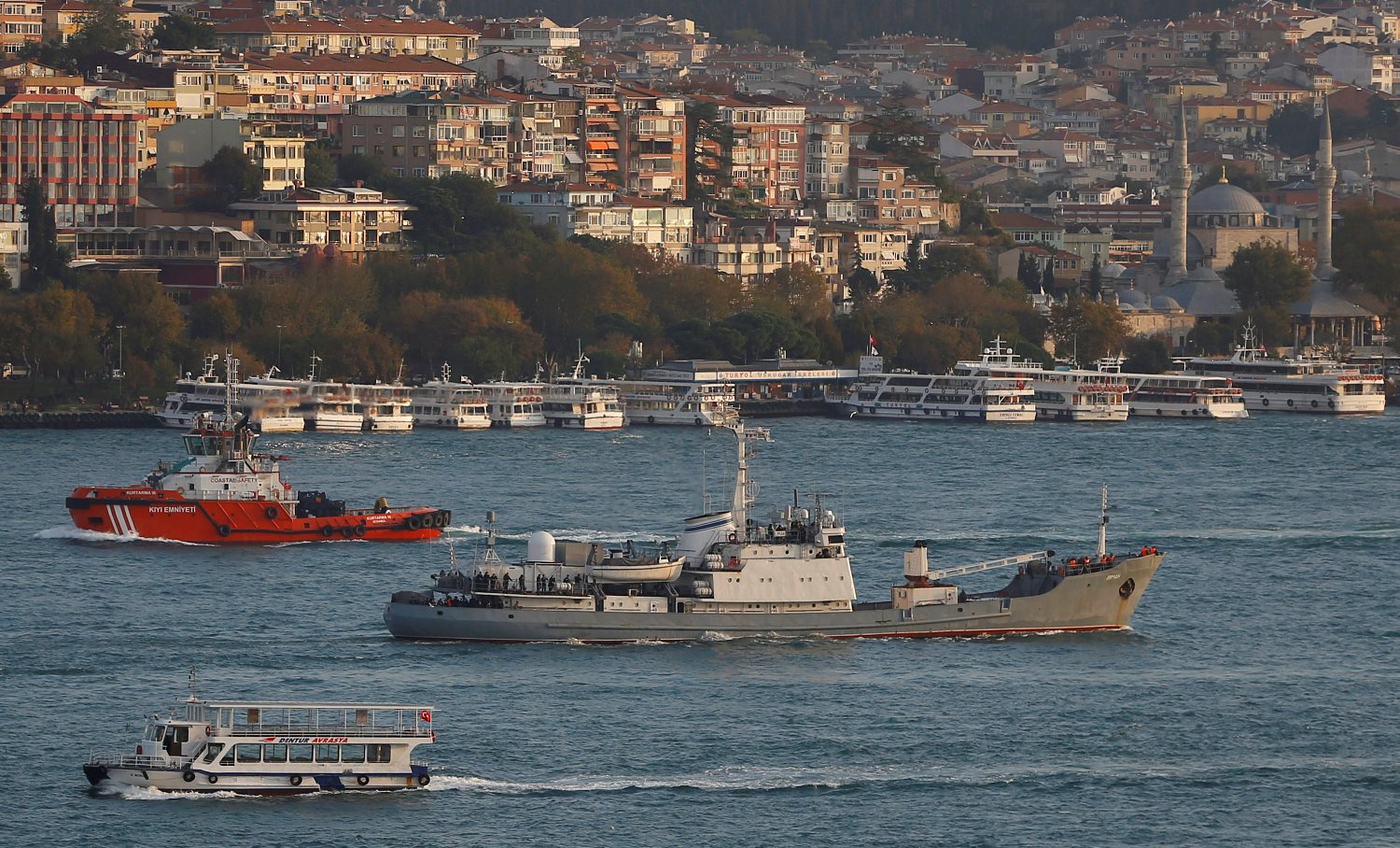 Russian Navy's reconnaissance ship Liman of the Black Sea fleet sails in the Bosphorus, on its way to the Mediterranean Sea, in Istanbul, Oct. 21, 2016.