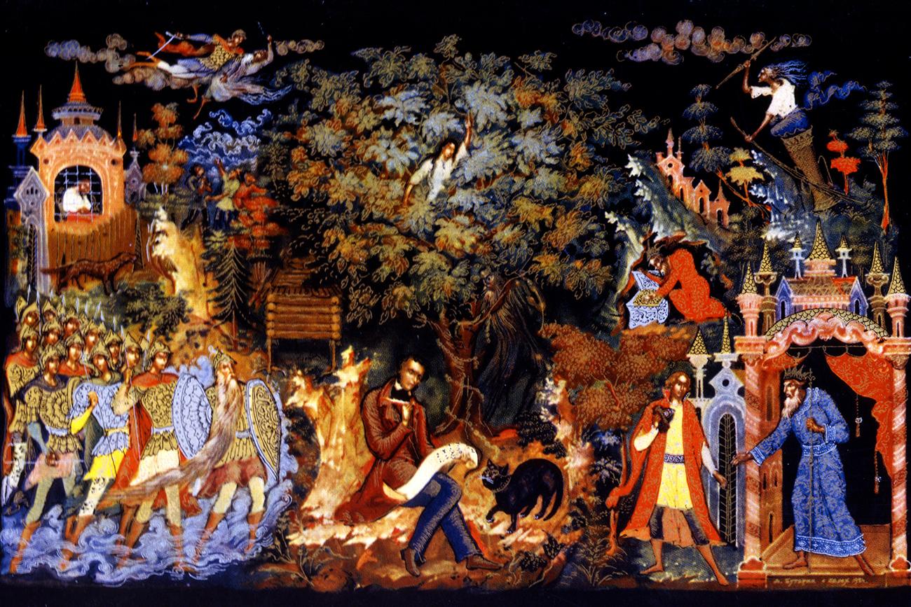 """Д. Батурин. Рисунка върху дървено ковчеже за бижу """"Пушкин сред героите на своите приказки"""". Темпера, злато, папиемаше, лак. 1934 г., Палех. Снимка: Global Look Press"""