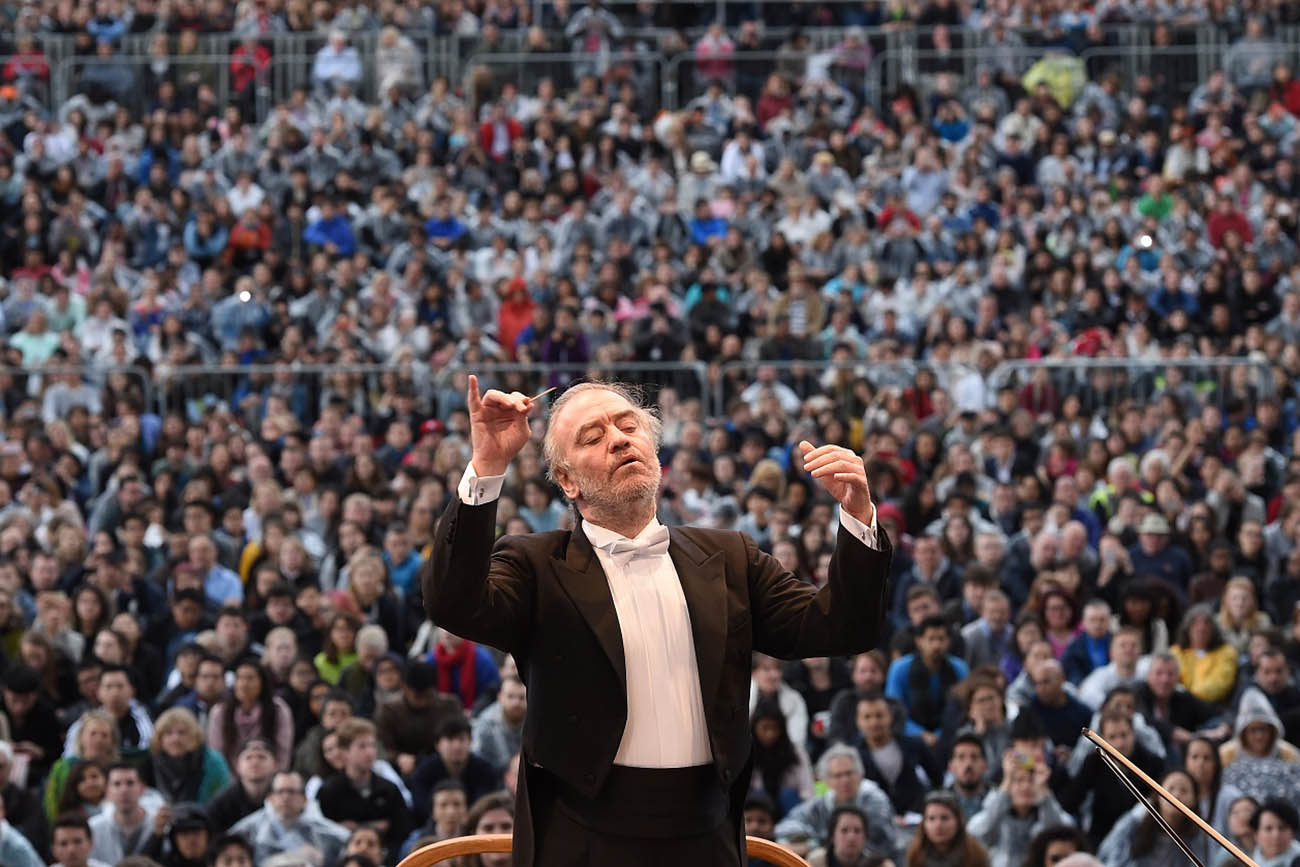 Valery Gergiev performing on London's Trafalgar Square.