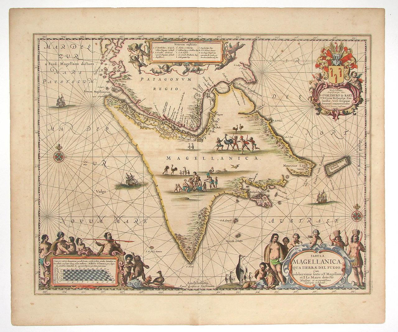 Peta Tierra del Fuego di ujung Amerika Selatan (1657).