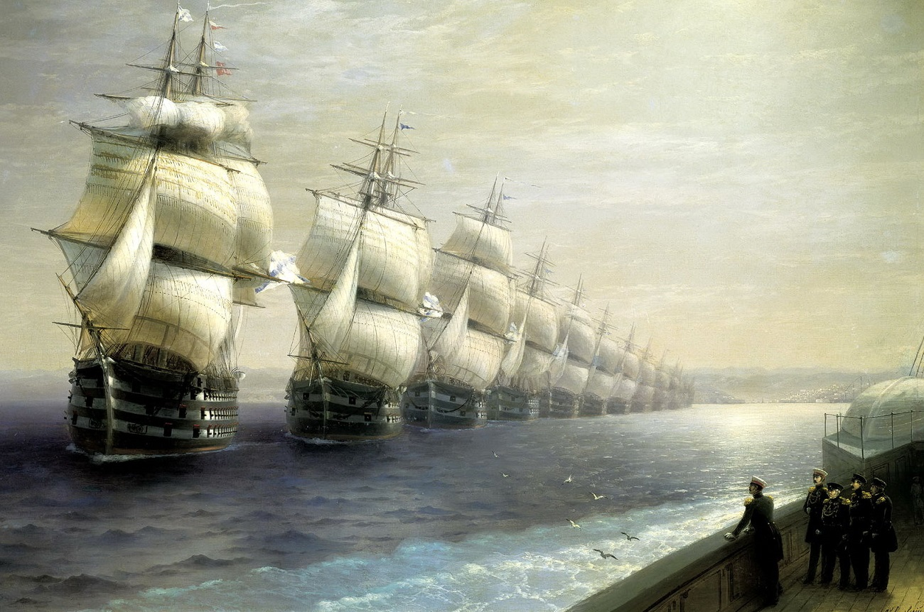 Parade of the Black Sea Fleet by Ivan Aivazovsky, 1849.