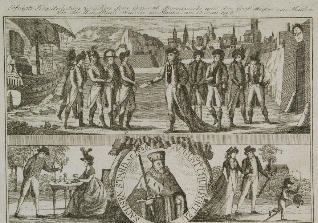 Penyerahan Malta ke Jenderal Bonaparte (1800). Sumber: Gottfried Baumann & Co