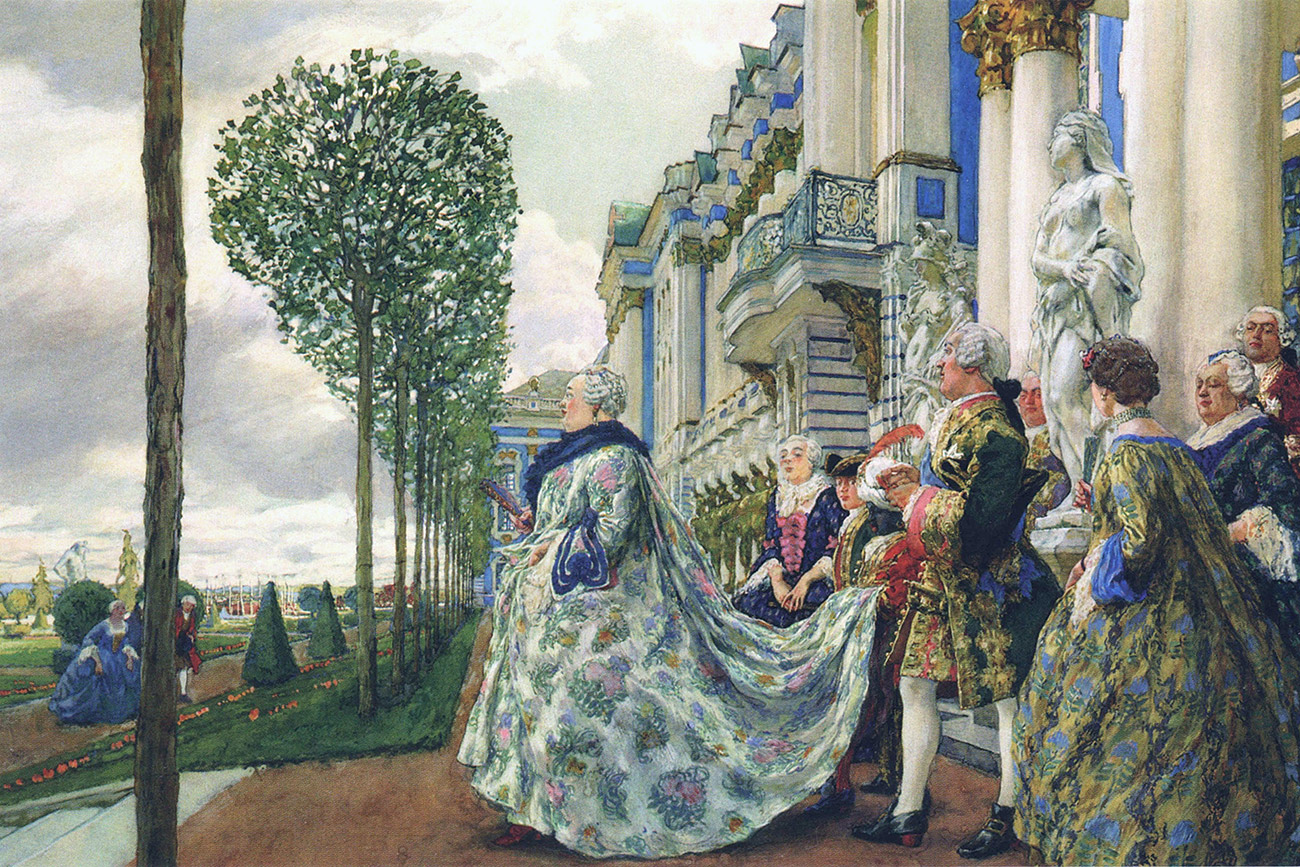 The artwork was performed as an illustration to Alexandre Benois' book Tsarskoye Selo during the Reign of Empress Elizabeth Petrovna. The A. Benois' work was published in 1910 by R. Golike & A. Vilborg Partnership in Saint Petersburg, but without the illustration Elizabeth Petrovna in Tsarskoe Selo.