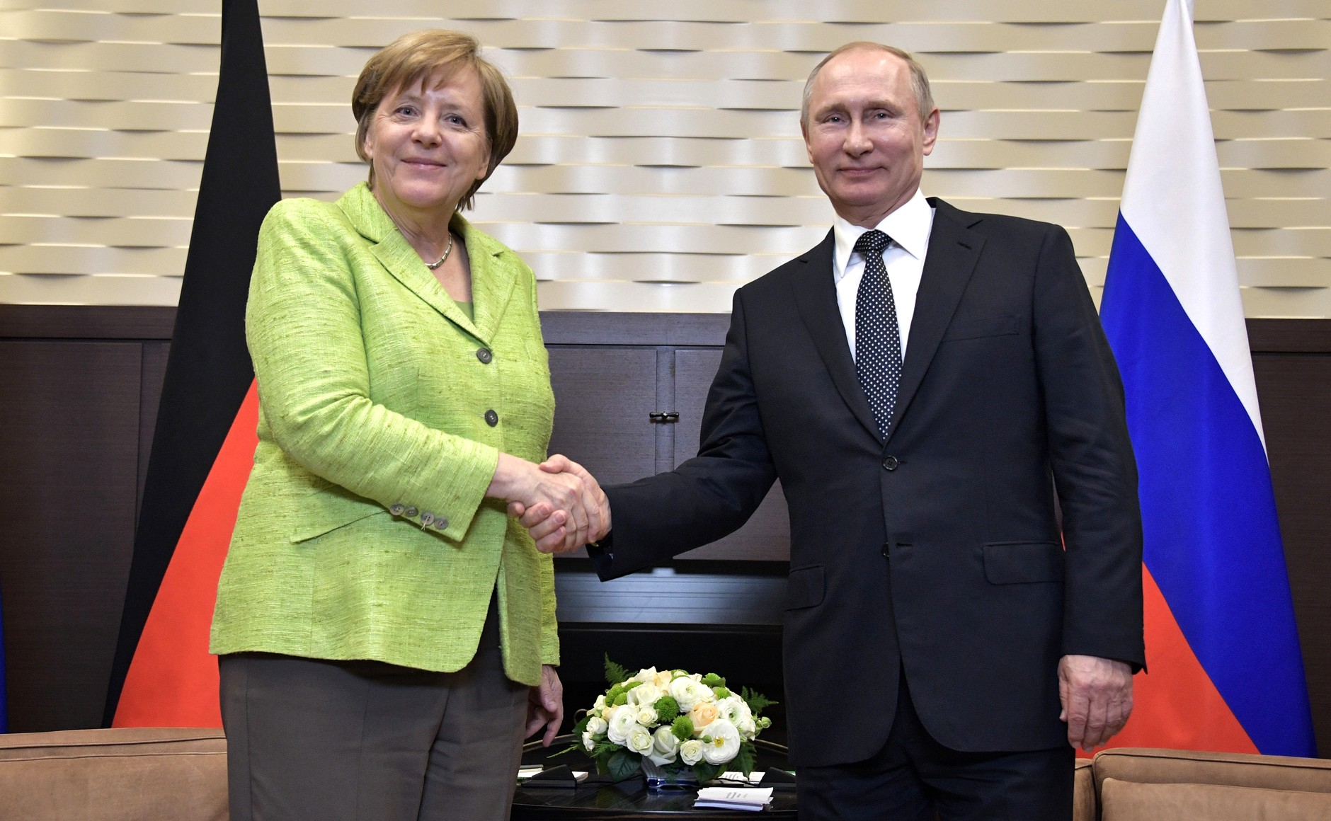 German Chancellor Angela Merkel meets with Russian President Vladimir Putin in Sochi.