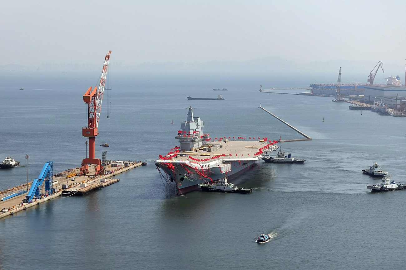 China's first domestically built aircraft carrier is seen during its launching ceremony in Dalian, Liaoning province, China, April 26, 2017. Source: Reuters