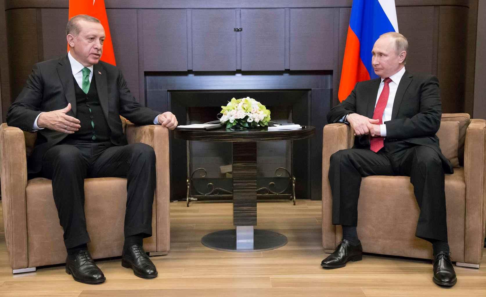 Russian President Vladimir Putin meets with his Turkish counterpart Tayyip Erdogan in Sochi, May 3, 2017.