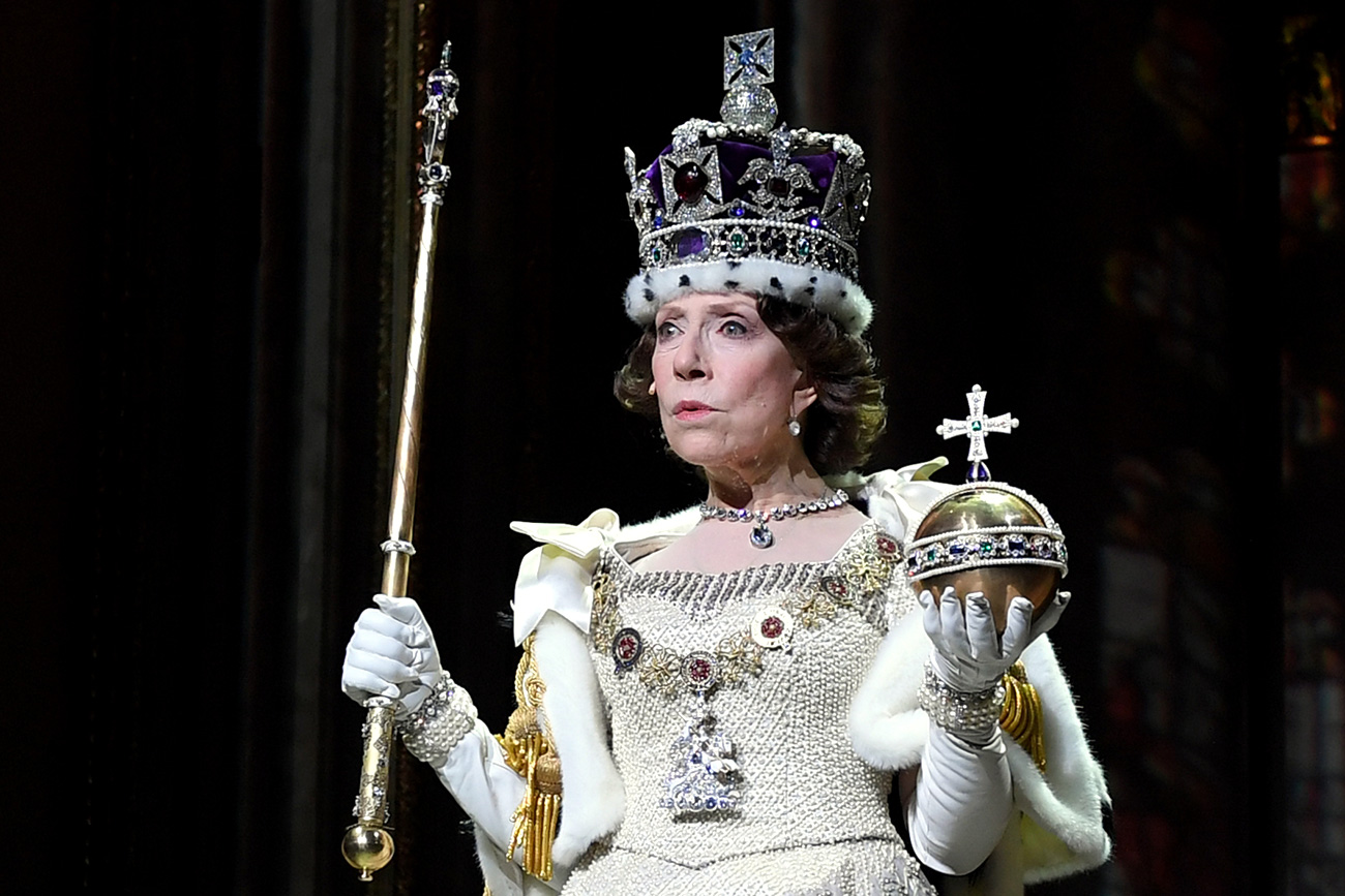 Actress Inna Churikova as Queen Elizabeth II in an episode from the play 'The Audience' at the Theater of Nations.