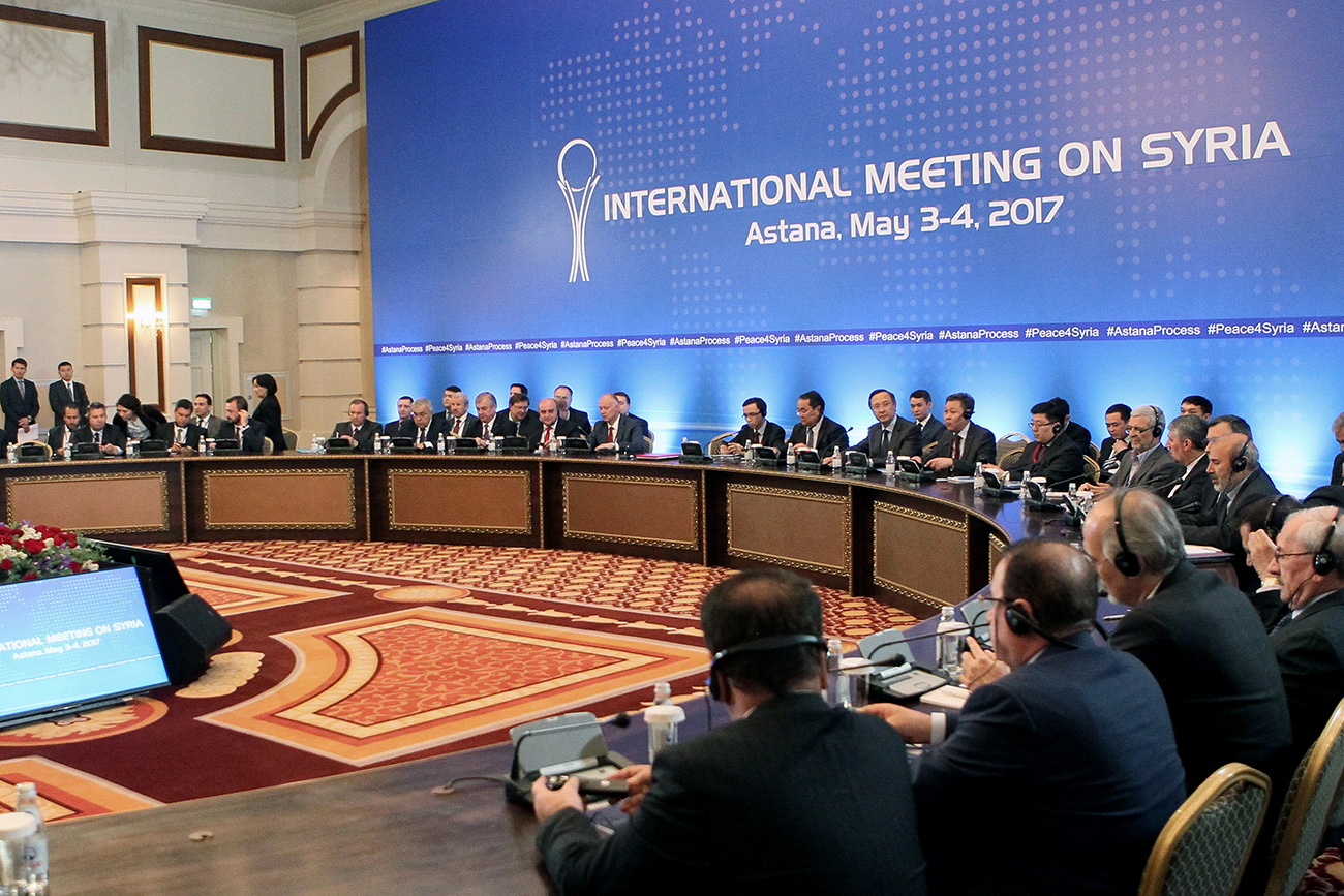 Participants attend the fourth round of Syria peace talks in Astana on May 4, 2017.