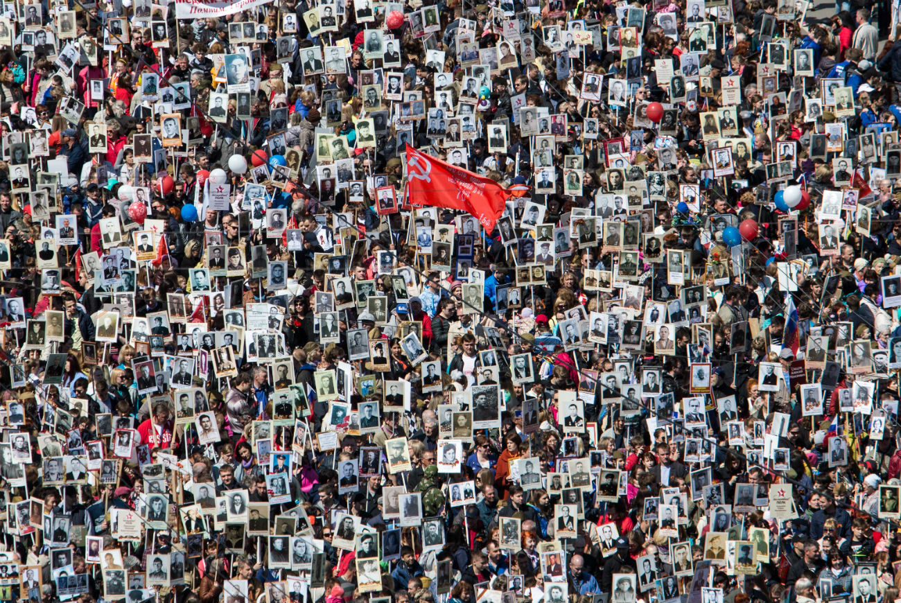 The March of the Immortal Regiment is a public act of remembrance dedicated to relatives who shed blood in WW2 and the Great Patriotic War.