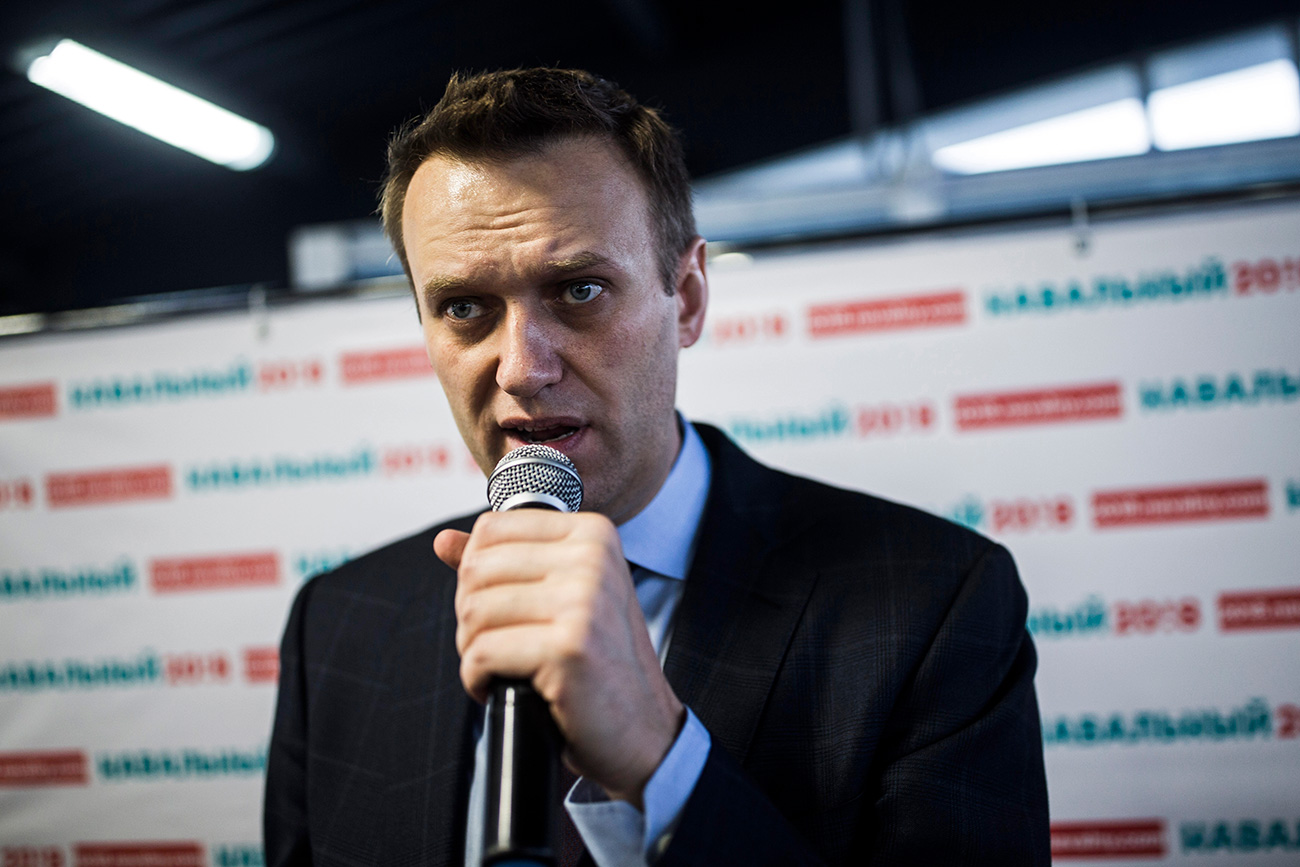 Russian opposition leader Alexei Navalny speaks at the opening of his campaign office in Chelyabinsk, in the Ural Mountains, Russia, Saturday, April 15, 2017.