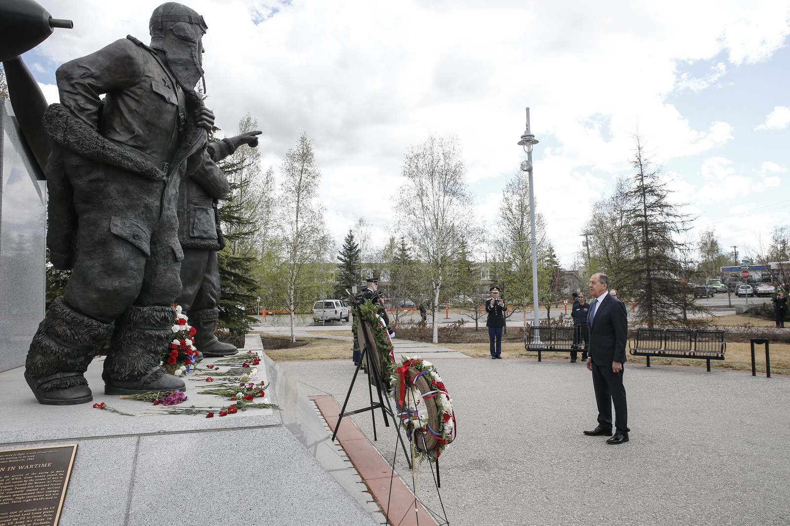 Russian Foreign Minister Sergey Lavrov took part at the flower- and wreath-laying ceremony at the Alaska-Siberia Lend-Lease Memorial in honour of Soviet and American pilots, Fairbanks, May 11, 2017.