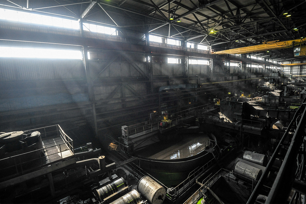 The magnetic separation unit, where iron concentrate is extracted from the ore.