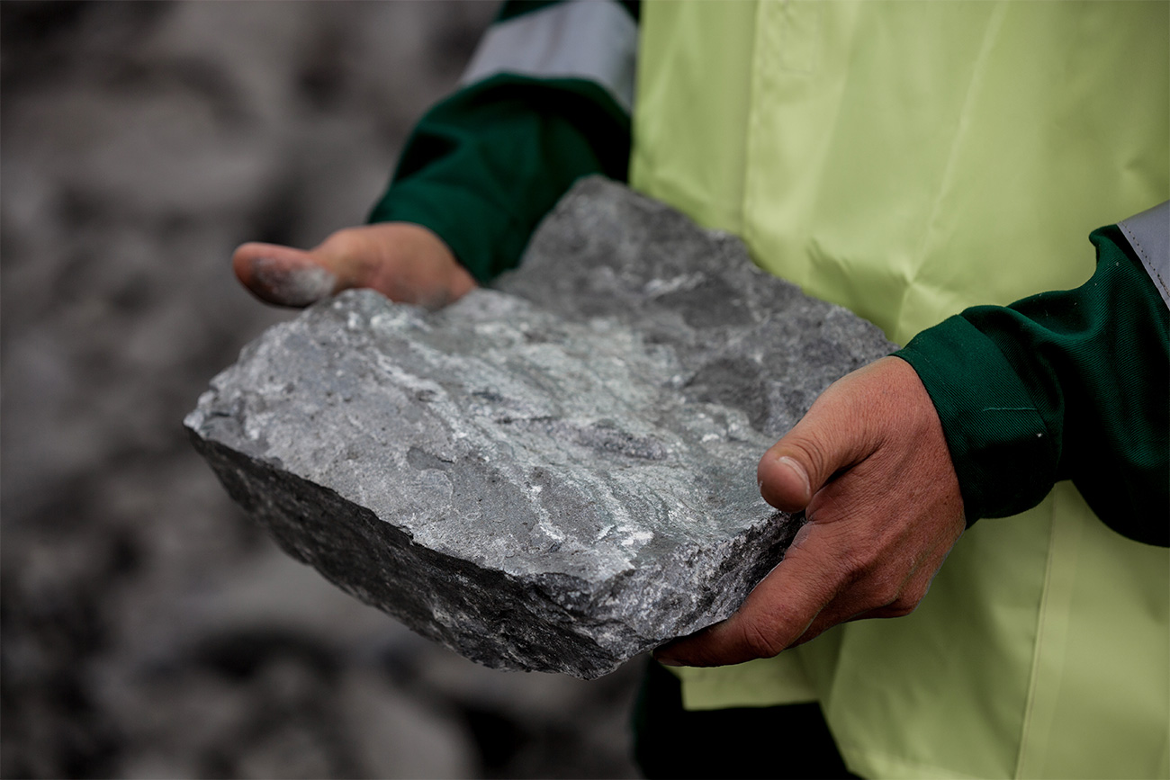 This is how a piece of ore looks before having iron ore concentrate extracted from it at the concentration plant.