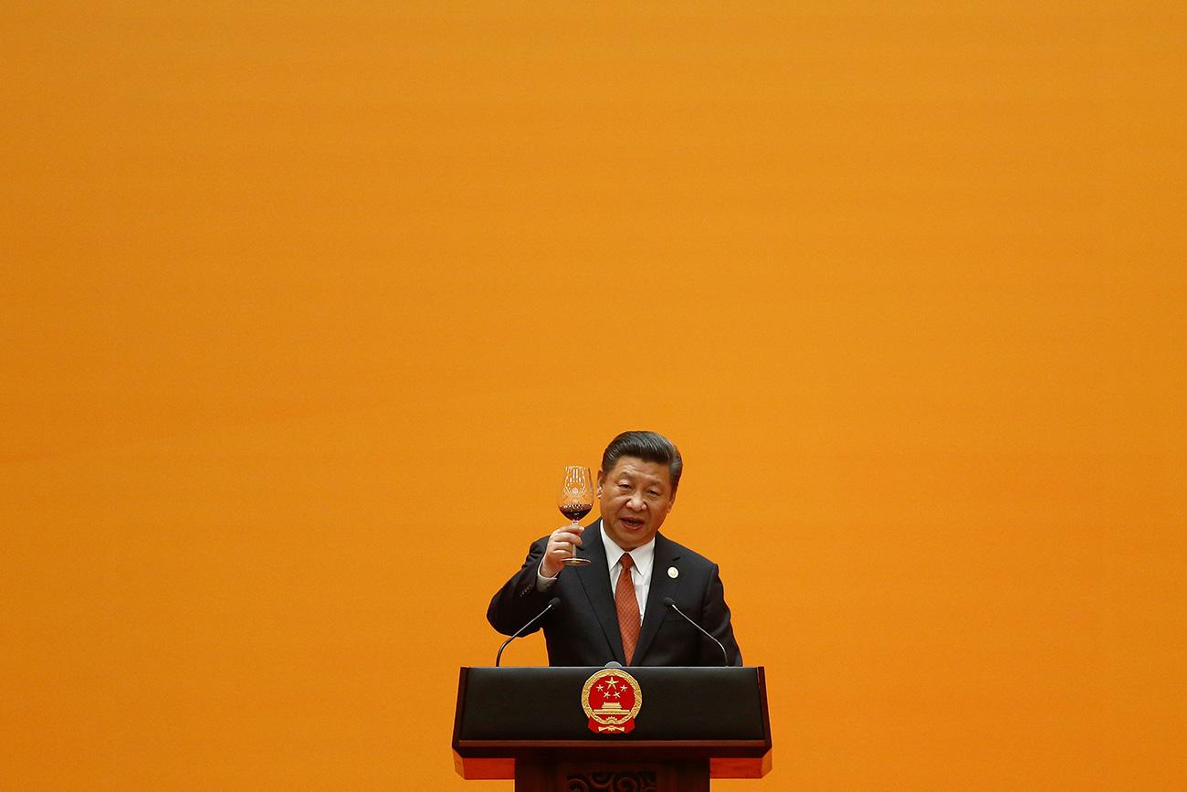 中国の習近平主席、中国・北京、「シルクロード経済圏構想」(一帯一路)の国際会議における歓迎宴会、2017年5月14日
