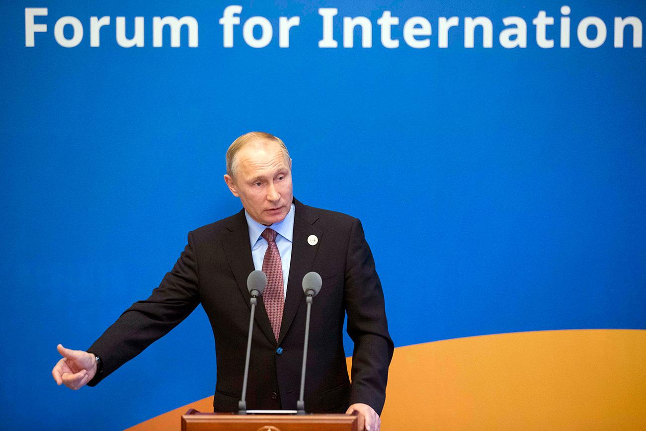Putin durante una rueda de prensa tras el Foro de la Nueva Ruta de la Seda, el 15 de mayo de 2017.