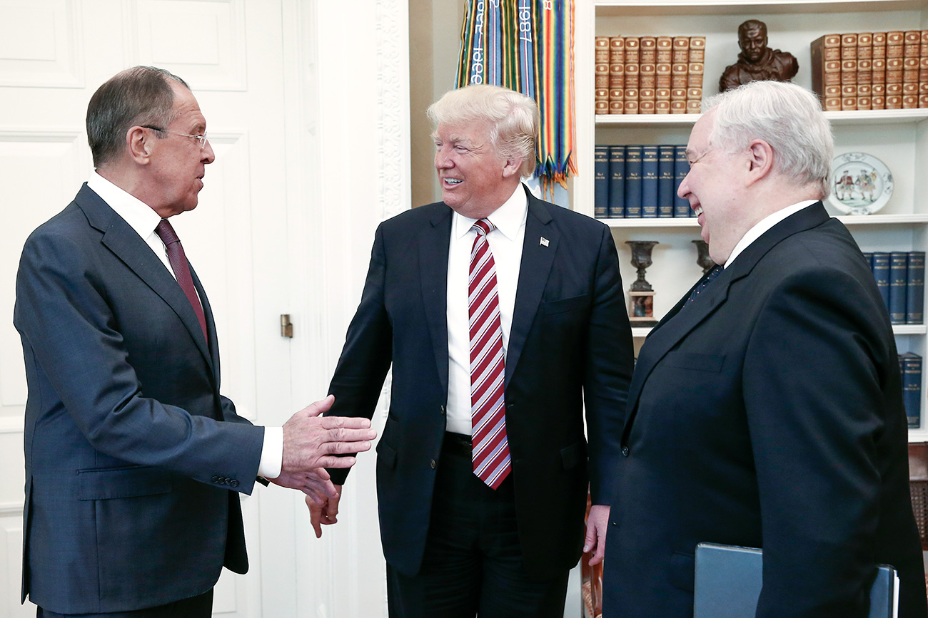 Russia's Foreign Minister Sergei Lavrov, U.S. President Donald Trump, and Russia's Ambassador to the U.S. Sergei Kislyak during a meeting in the Oval Office at the White House.