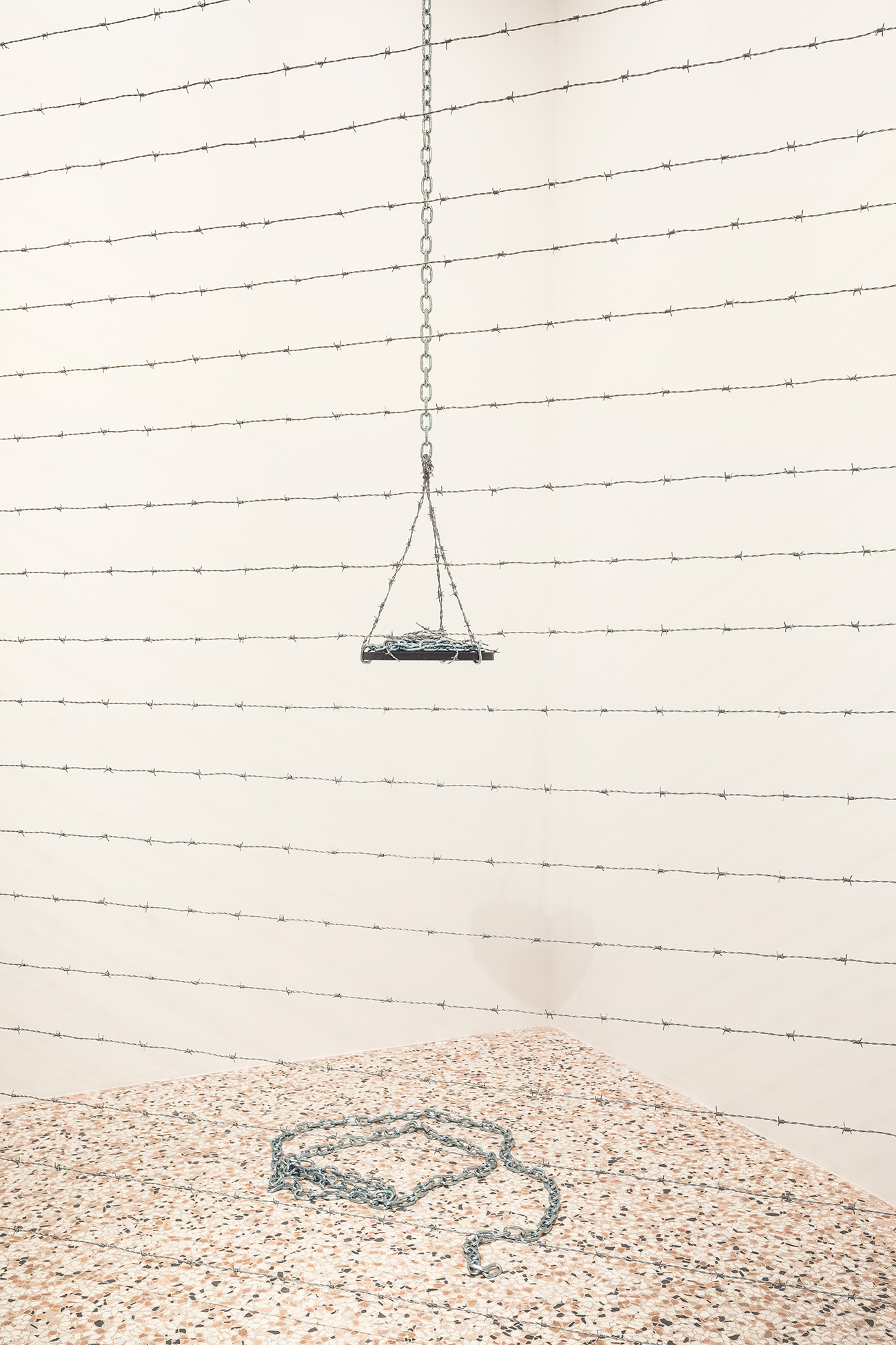 Melvin Edwards. Corner for Ana 1970/2017 Barbed wire Courtesy of the artist and Alexander Gray Associates, New York Installation View, Space Force Construction\n