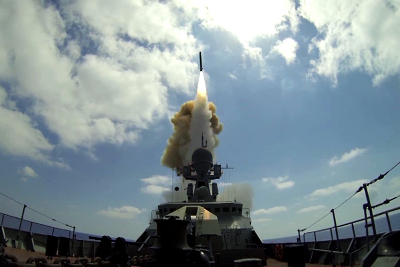 Russian Navy launches Kalibr cruise missiles at Jabhat Al-Nusra facilities from the Mediterranean Sea.