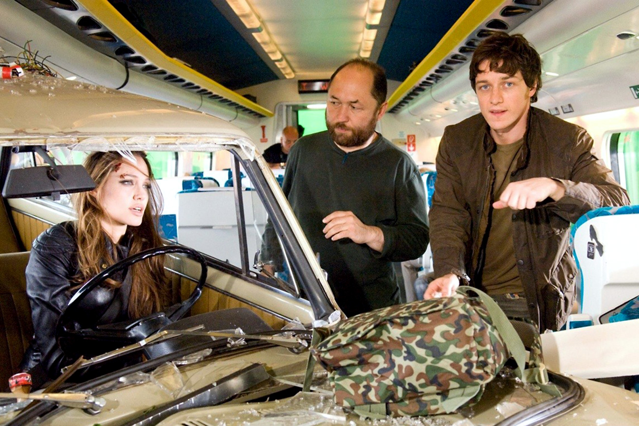 Angelina Jolie, Timur Bekmambetov and James McAvoy during the shooting of the movie 'Wanted'.