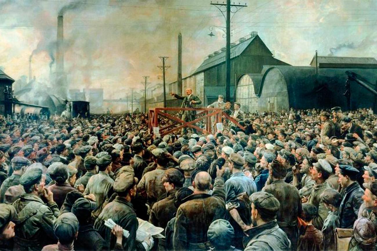 В. И. Ленин държи реч на митинга на работниците в Путилковския завод през май 1917 г. Худ. И. И. Бродски, 1929 г.